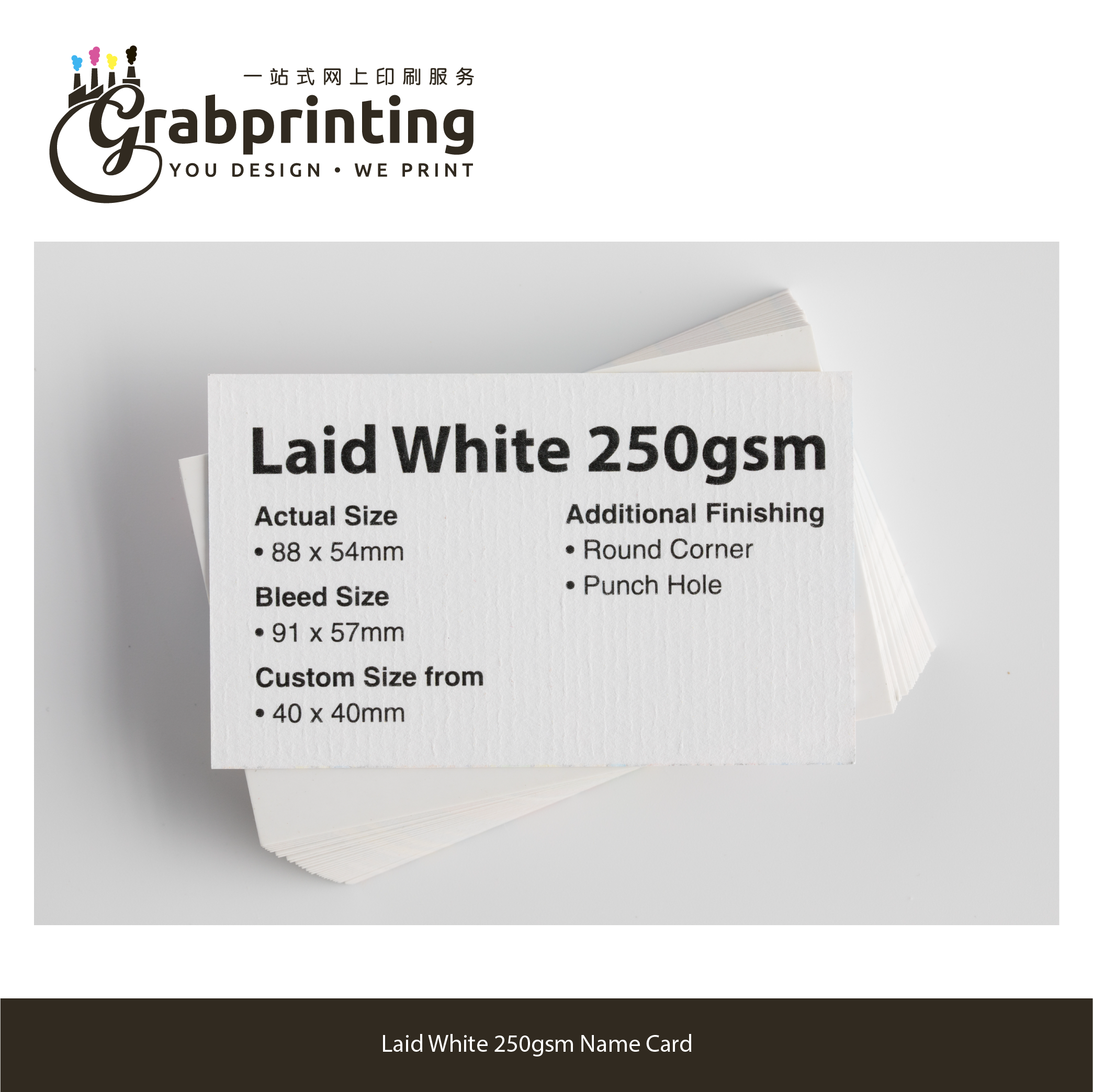 Name Card Sample Kit grabprinting 33 Laid White 250gsm Name Card 501px 501px