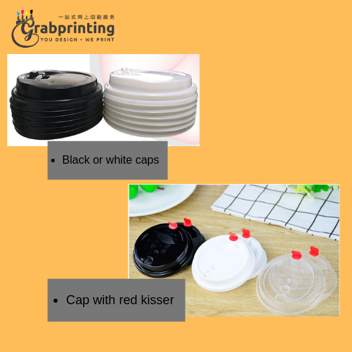 Paper Cup Printing Black or white caps