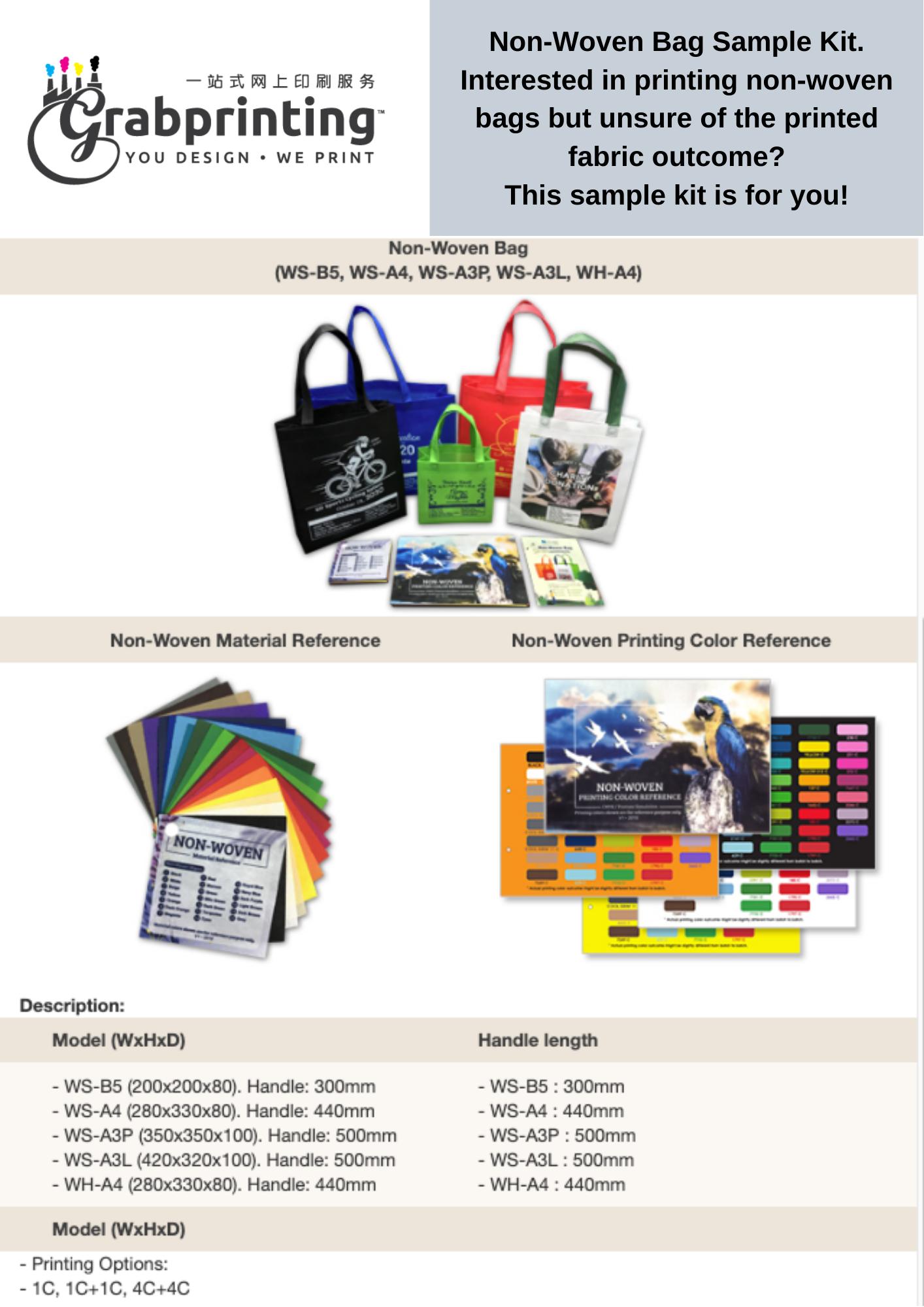 Non woven bag sample kit Non Woven Bag Sample Kit flyer size